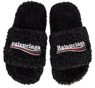 Balenciaga Furry Slippers in Black