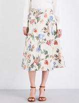 Alice + Olivia Alice & Olivia Midlen A-line high-rise jacquard skirt