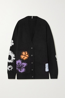McQ Oversized Appliqued Embroidered Wool And Cashmere-blend Cardigan - Black
