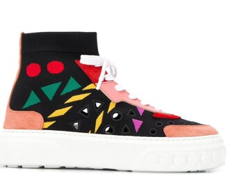 Casadei Knitted High-Top Trainers