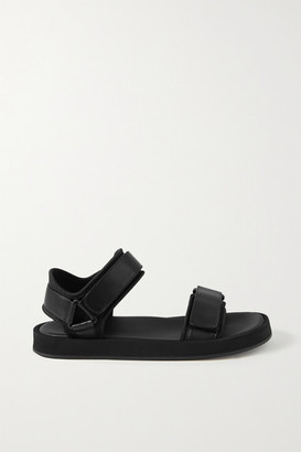 The Row Hook And Loop Leather And Neoprene Sandals - Black
