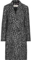 MICHAEL Michael Kors Double-breasted Leopard-print Bouclé Coat - Black