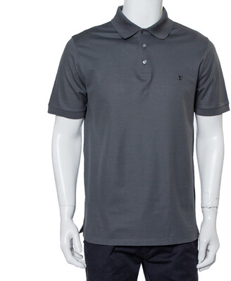 Louis Vuitton Grey Cotton Pique Polo T-Shirt L