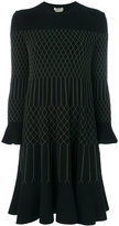 Fendi embroidered flared dress