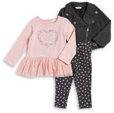 Calvin Klein Little Girl's Three-Piece Cable Jacket, Heart Top, and Polka Dot Leggings Set