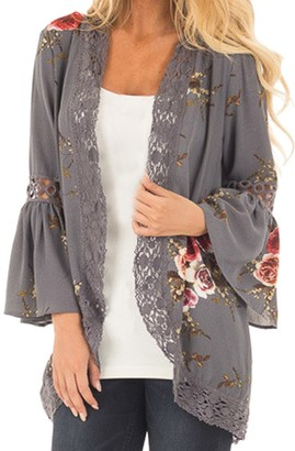 MRULIC Women Ladies Autumn Lace Floral Open Cape Casual Coat Loose Blouse Kimono Jacket Cardigan (M