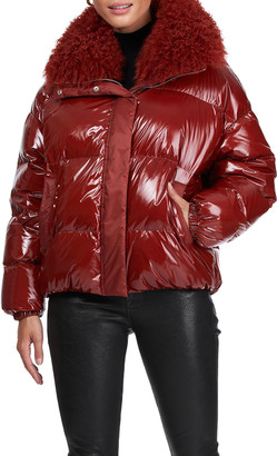 Yves Salomon Down Jacket With Lamb Collar