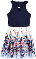 Beautees 2-Pc. Choker Bodysuit & Floral-Print Skirt Set, Big Girls