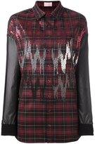 Giamba contrast sleeve plaid shirt