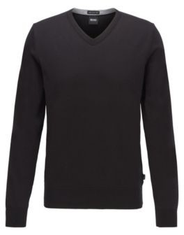 BOSS V-neck sweater in pure cotton