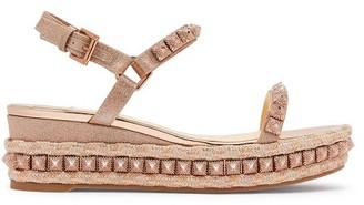 Christian Louboutin Pira Ryad 60 Studded Flatform Espadrille Sandals - Womens - Rose Gold