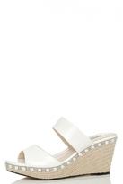 Quiz White Diamante Hessian Slip On Wedges