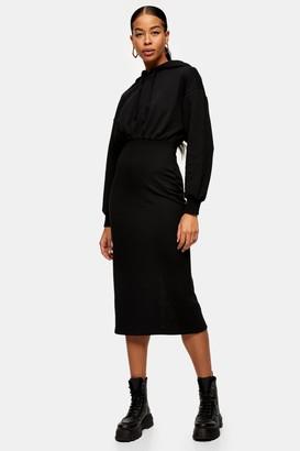Topshop Black Midi Jersey Hoodie Dress
