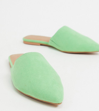 ASOS DESIGN Wide Fit Lava pointed flat mules in green