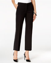 Alfani Petite Faux-Leather-Trim Cropped Pants, Only at Macy's