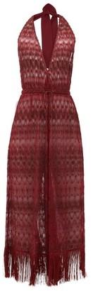Missoni Mare - Halterneck Metallic Crochet-knit Jumpsuit - Womens - Burgundy