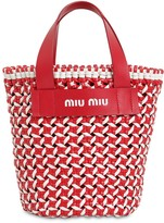 Miu Miu Vichy Braided Faux Leather Bucket Bag