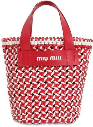 Miu Miu Vichy Braided Faux Leather Bucket Bag