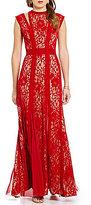 Tadashi Shoji Flocked Velvet Illusion Lace Gown