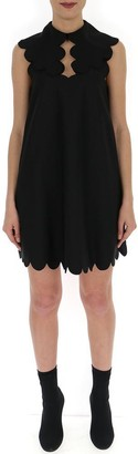 Mulberry Scalloped Detail Mini Dress