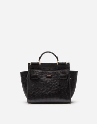 Dolce & Gabbana Small Ostrich Leather Sicily 62 Soft Bag