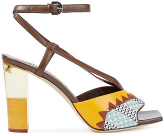 Emilio Pucci Embroidered Woven And Leather Sandals
