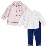 Little Me Infant Girl's Peacoat, Tee & Leggings