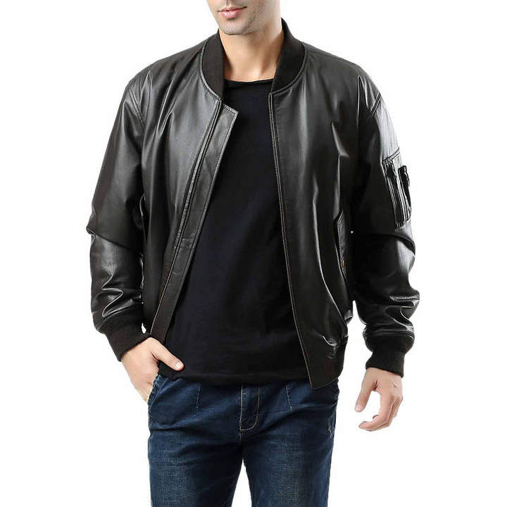 Asstd National Brand Ma 1 Pebbled Leather Leather Bomber Jacket Tall