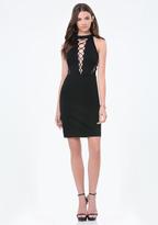 Bebe Lori Ponte Lace Up Dress
