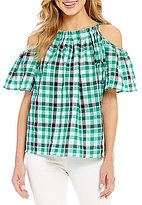 M.S.S.P. Madras Cotton Plaid Cold Shoulder Top