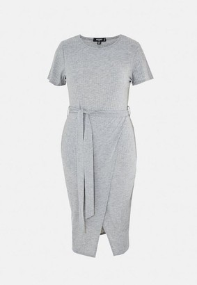Missguided Plus Size Gray Rib Belted Midi Dress