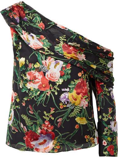 Alice + Olivia Alice Olivia - Serita One-shoulder Floral-print Burnout-chiffon Top - Black