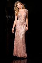 Scala 48689 Fitted Encrusted Prom Dress