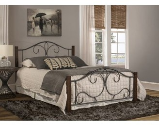 Hillsdale Furniture Destin Scrolled Black Metal and Wood Twin Bed, Brushed Cherry