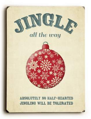 "One Bella Casa Jingle All The Way Solid Wood Wall Decor by Cheryl Overton - 9"" x 12"""