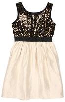 Us Angels Blush Fab Dress w/ Elastic Band Waist (Big Kids) (Gold/Champagne) - Apparel