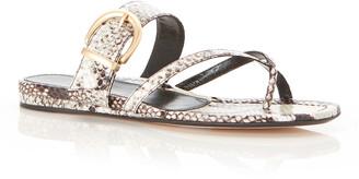 Marion Parke Hayley Python-Print Slide Flat Sandals