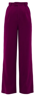 Rebecca De Ravenel Wool Crepe Wide-leg Trousers - Dark Pink