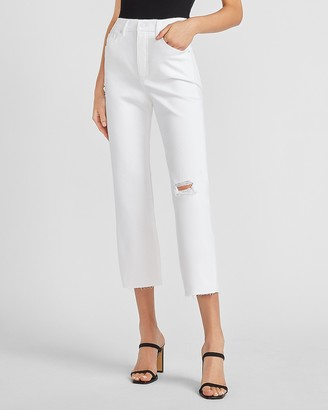 Express Super High Waisted White Ripped Raw Hem Straight Jeans