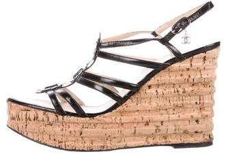 Chanel CC Patent Leather Wedges