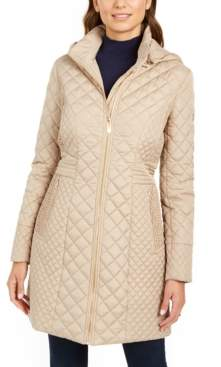 Via Spiga Petite Hooded Quilted Raincoat