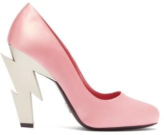 Prada Lightning Bolt Heel Satin Pumps - Womens - Pink