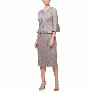 Alex Evenings Women's Tea Length Dress and Jacket (Petite and Regular Sizes)