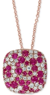 """Effy Certified Ruby (1 ct. t.w.) & Diamond (3/8 ct. t.w.) 18"""" Pendant Necklace in 14k Rose Gold"""