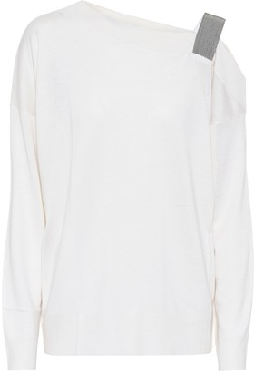 Brunello Cucinelli Embellished cashmere and silk sweater