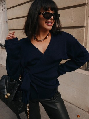 In The Style X Lorna Luxe 'But First' Wrap Cardigan - Navy