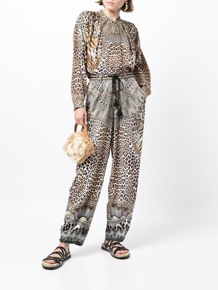 Camilla Leopard-Print Long-Sleeve Silk Shirt