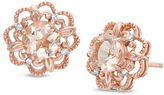 Zales 5.0mm Morganite and Diamond Accent Flower Frame Stud Earrings in 10K Rose Gold
