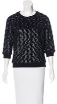 L'Agence Faux Fur-Trimmed Round Neck Sweater