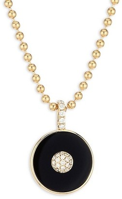 Maria Canale Pyramide 18K Yellow Gold, Diamond & Onyx Disc Pendant Necklace